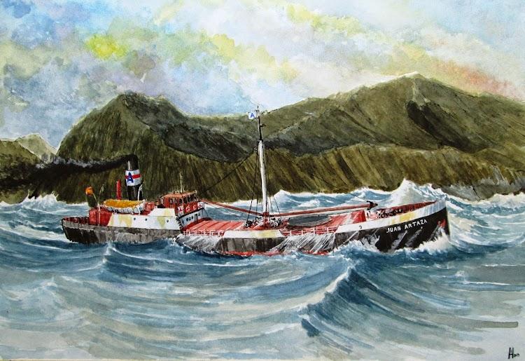 El JUAN ARTAZA en navegando en el duro Cantabrico. Acuarela de El Ilustradoe de Barcos. Roberto Hernandez. Nuestro agradecimiento.jpg
