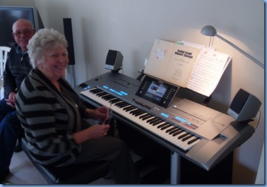 Our host, Barbara Powell, entertaining us on her lovely Yamaha Tyros 5.