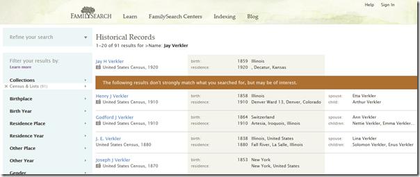 2011年9月FamilySearch.org返回柱状搜索结果布局