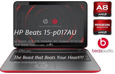 HP Beats 15-p017AU Laptop Windows 8 Layar Lebar 1080p Touchscreen RAM 8GB