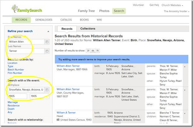 Familysearch系列树可以启动搜索历史记录
