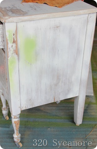 little white table in rough shape