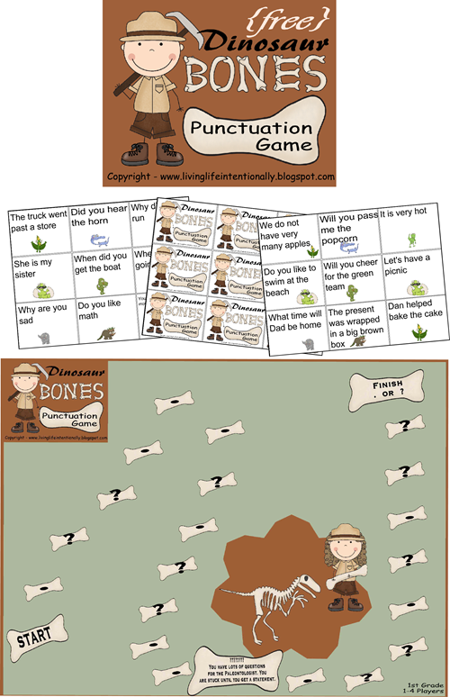 FREE Dinosaur Bones Punctuation Game - A fun way for kids to practice punctuation for Kindergarten, 1st grade, and 2nd grade kids