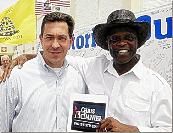 Above-  Lloyd Marcus with Chris McDaniel at a Mississippi tea party rally
