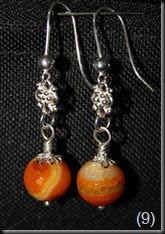 Sterling Silver, Orange Agate Earrings