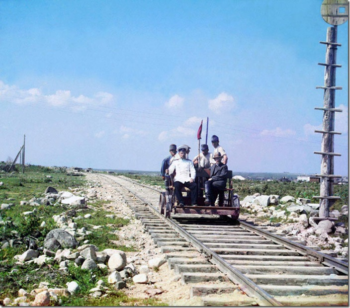 On-the-Handcar-Outside-Petrozavodsk-on-the-Murmansk-Railway-1915