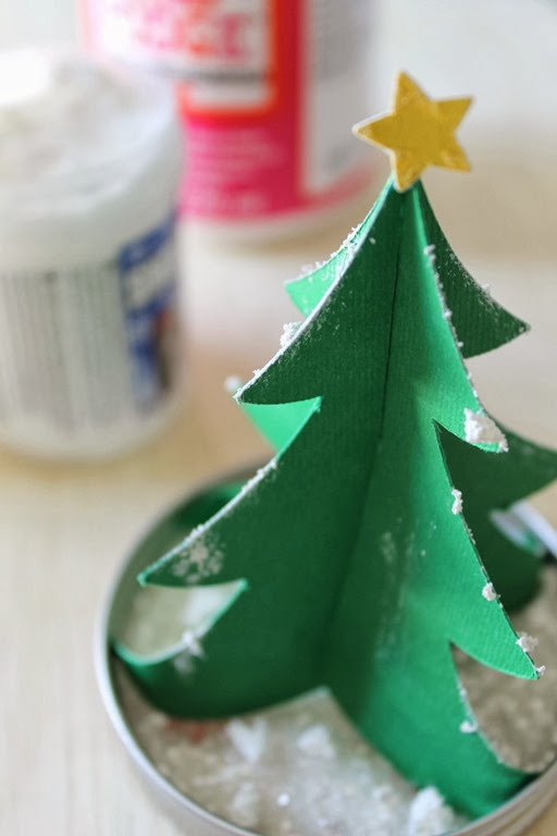 paper Christmas tree with fake snow #ad