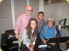 James Earl Jones at Plush Studio after the recording of his interview for Of Mice and Men: Amplified. Shown (left to right) John McElroy (producer), Lorie Napolitano (Penguin Classics, Assistant Editor), Elda Rotor (Penguin Classics, Editorial Director), James Earl Jones. Photo courtesy of Penguin Classics.