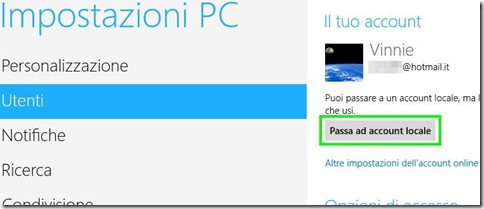Windows 8 Passa ad account locale