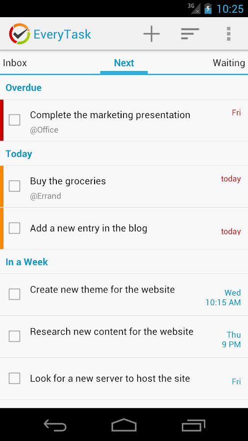 EveryTask | GTD To-do List - screenshot