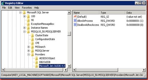 SQLScientist com: The OLE DB provider