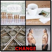 CHANGE- 4 Pics 1 Word Answers 3 Letters