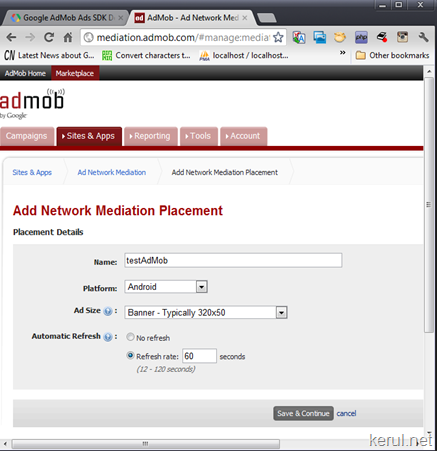 setting site in admob