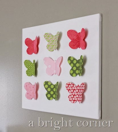 Butterfly Canvas Art tutorial from A Bright Corner