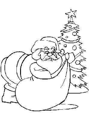 Santa Claus junto a regalos