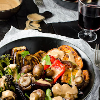 Roasted Veggie Dinner with Almond Lime Satay Sauce