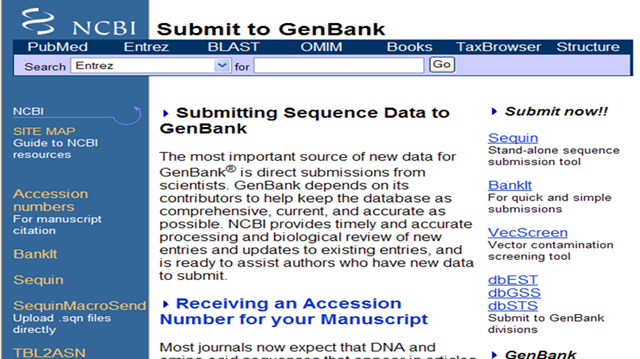 GenBank Example of primary database