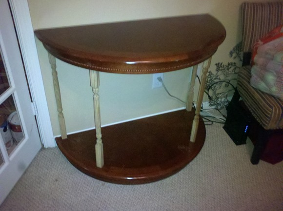 table cut in half two tiered