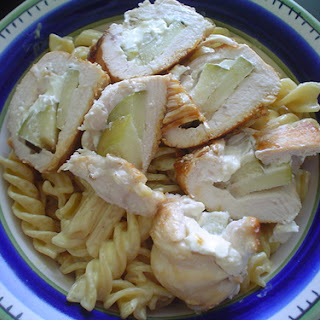 Apple and Cream Cheese Filled Chicken with Mustard Cream Pasta.
