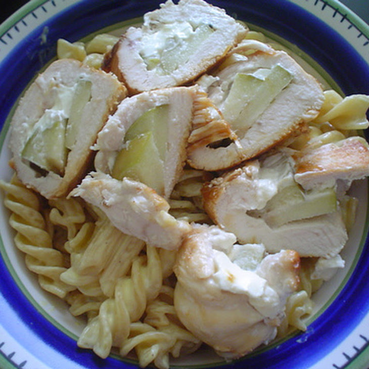 Apple and Cream Cheese Filled Chicken with Mustard Cream Pasta