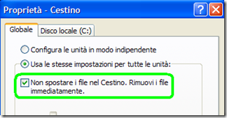 Cestino Windows Non spostare i file nel Cestino. Rimuovi i file immediatamente