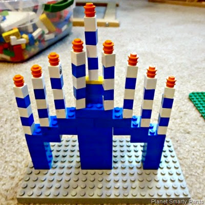 Menorah out of Lego