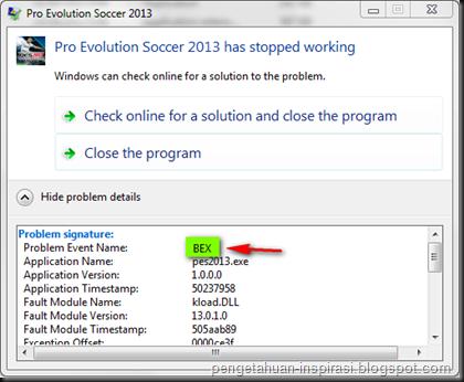 Mengatasi Error BEX dan pada Windows 7 ~ Pengetahuan Inspirasiku