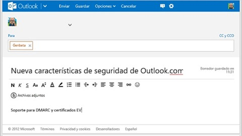 Caracteristicas de seguridad en Outlook