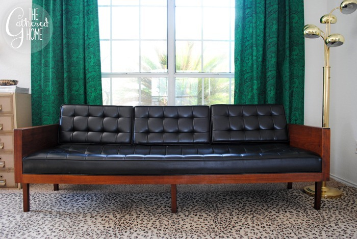 found vintage midcentury wood case sofa9