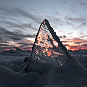 Ice Angle by Jeremy Church - Nature Up Close Other Natural Objects ( clouds, lake michigan, sunset, ice, snow )