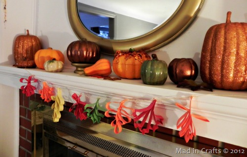 falling leaves paper garland mantel