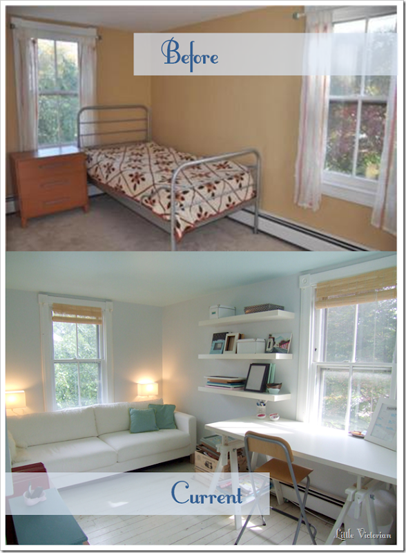 Bright office and guest room before and after