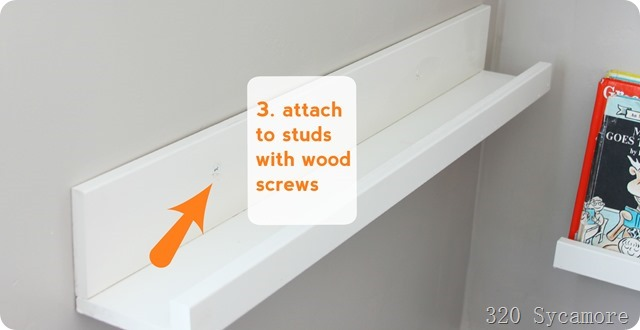 attach ledges to wall with wood screws