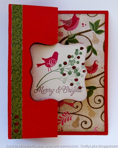 Pear and Partridge Artiste Swing Card with Merry & Bright CTMH Stamp set outside