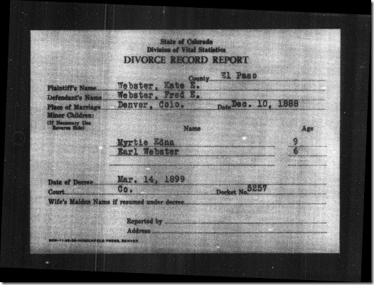 Divorce Record Report for Frederick Emory Webster and Kate E. Woodhouse