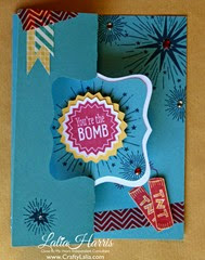 June CTMH SOTM Swing Card You Are the Bomb front
