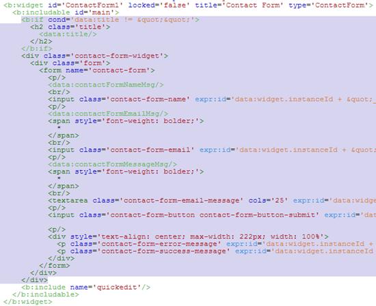 изменяем код сраницы крнтакты blogger