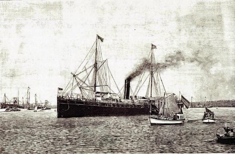 El MANUEL L. VILLAVERDE, puesto a disposicion del General Martinez Campos. Grabado de La Ilustración Española y Americana.JPG