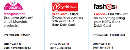HDFC bank debit card offers