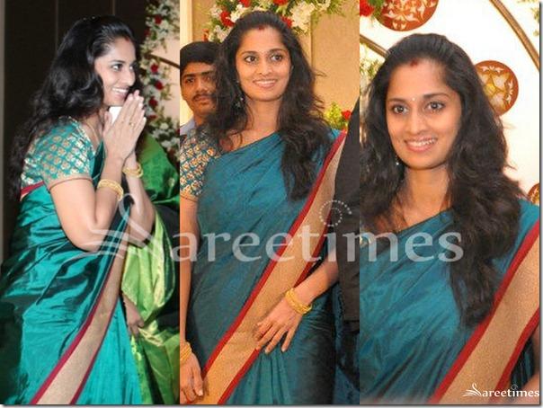 Shalini In Green Silk Saree