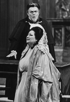Cornell MacNeil as Scarpia in Puccini's TOSCA at the MET, 1985, opposite Montserrat Caballé [Photograph by James Heffernan/MET]