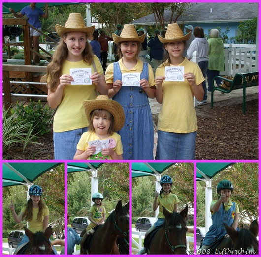 The girls showing off their certificates and posing on horses.
