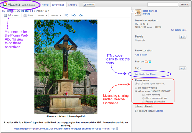 Sharing outside Google+ is easier via the Picasa Web Album View