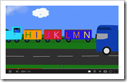 Transportation ABC song with first verse using upper case letters and second using lower case letters