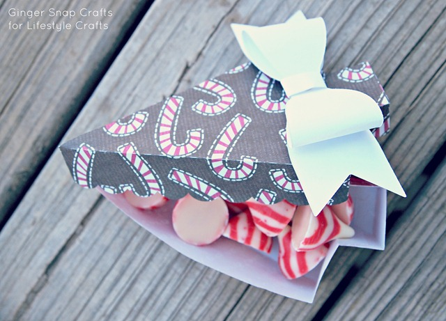 candy cane treat box with bow