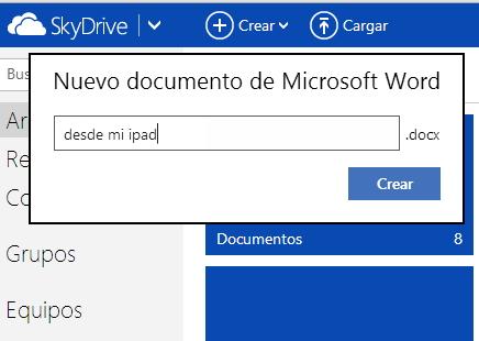 Creando un documento de word desde el ipad