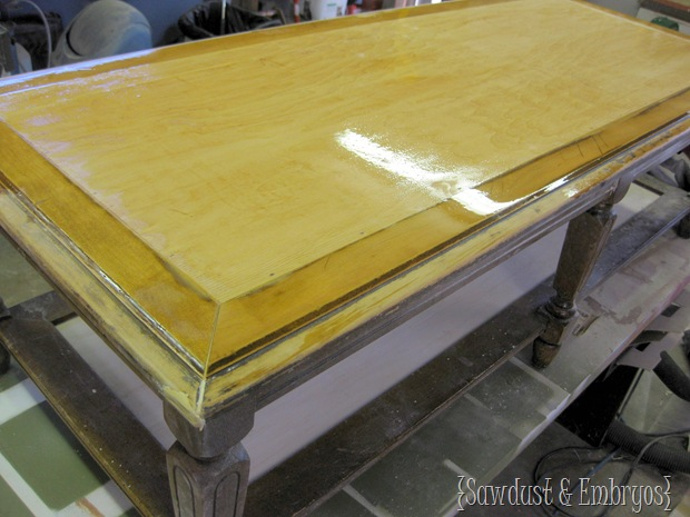 Preparing Furniture to use Vinyl as a Stencil {Sawdust and Embryos}