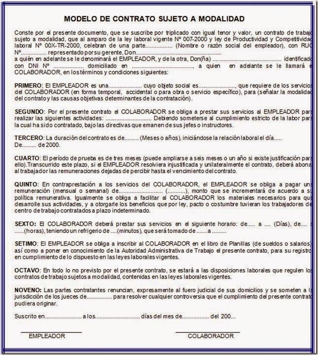 Capitulo iii proceso de admision y empleo de los recursos for Modelo contrato de trabajo servicio domestico 2015