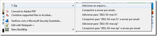 7-Zip no menu do Windows