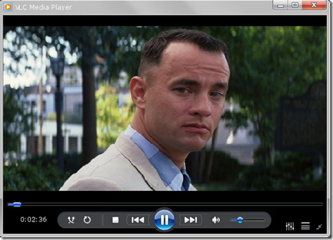 VLC con la grafica di Windows Media Player 12
